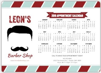 Retro Mustache Beauty and Spa Business Magnet Calendar