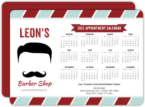 Retro Mustache Beauty and Spa Business Calendar Card