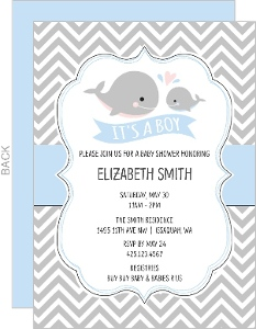 Baby Whale Chevron Baby Shower Invitation
