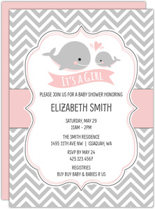 Baby Pink Whale Chevron Baby Shower Invitation
