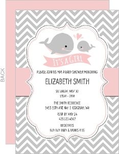 Animal girl baby shower invitations baby pink whale chevron baby shower invitation filmwisefo