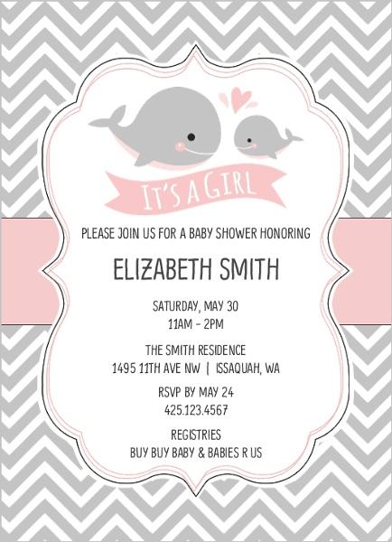 Baby pink whale chevron baby shower invitation girl baby shower baby pink whale chevron baby shower invitation filmwisefo