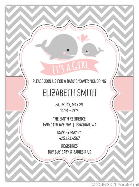 Baby Pink Whale Chevron Baby Shower Invitation Girl Baby Shower