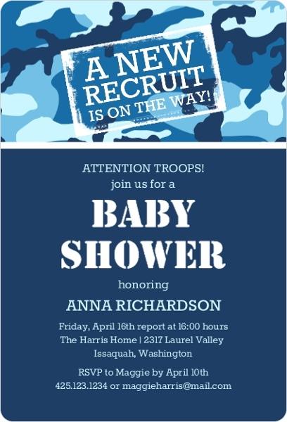 Blue Camo Baby Shower Invitation Boy Baby Shower Invitations