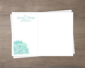 Romantic Aqua Floral Wedding Custom Envelope