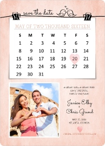 Cute Pink Save The Date Calendar Magnet
