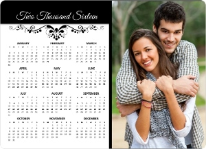 Elegant Black Flourish Fridge Magnet Calendar