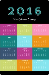 Bold Blocks Fridge Magnet Calendar