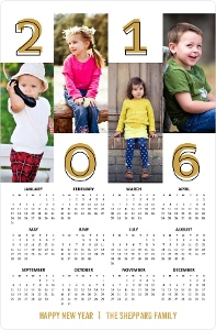 Bold Gold Year Fridge Magnet Calendar