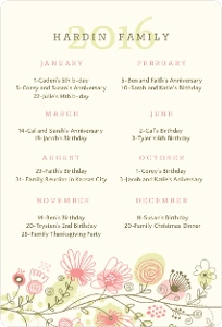 Whimsical Florals Fridge Magnet Calendar