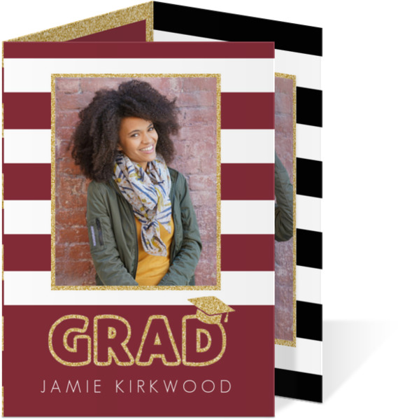 Glitter Black & White Stripes Trifold Graduation Announcement