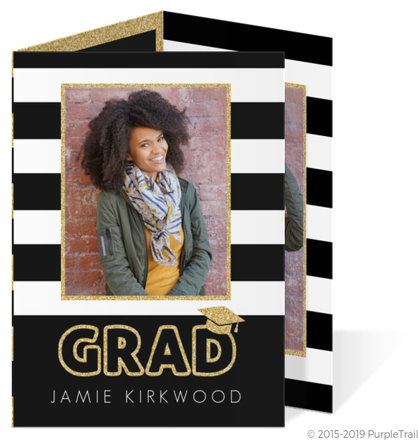 glitter black white stripes trifold graduation announcement tri