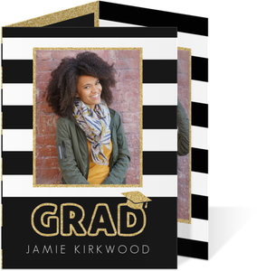 Glitter Black  White Stripes Trifold Graduation Announcement