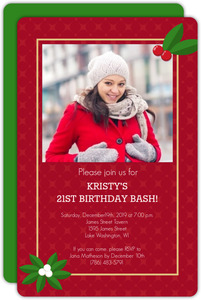 Naughty or Nice Holiday 21st Birthday Party Invite