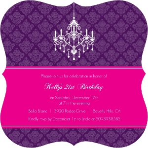 Elegant Damask And Chandelier 21St Birthday Invitaiton Magnet
