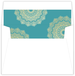 Teal and Faux Gold Mandala Envelope Liner