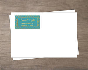 Teal and Faux Gold Mandala Envelope