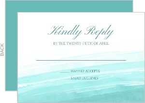 Blue Watercolor Beach Wedding Response Card