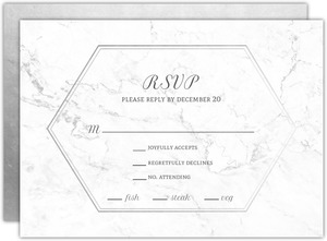 Elegant White Marble Wedding Response Card