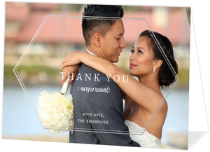 Elegant White Marble Wedding Thank You Card