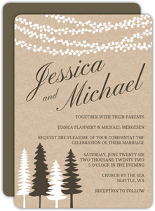 Lights And Rustic Trees Wedding Invitation