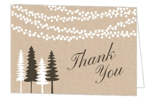 Lights And Rustic Trees Thank You Card