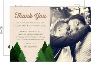Rustic Evergreen Tree Wedding Thank You Postcard