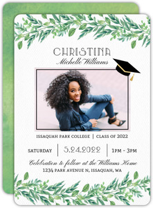 Gorgeous Greenery Graduation Invitation