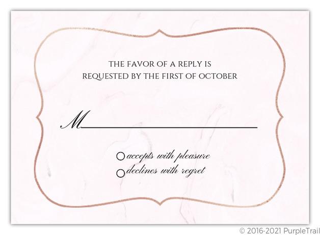 Wedding Response Cards.Blush Marble And Faux Rose Gold Wedding Response Card