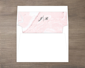 Blush Marble and Faux Rose Gold Envelope Liner