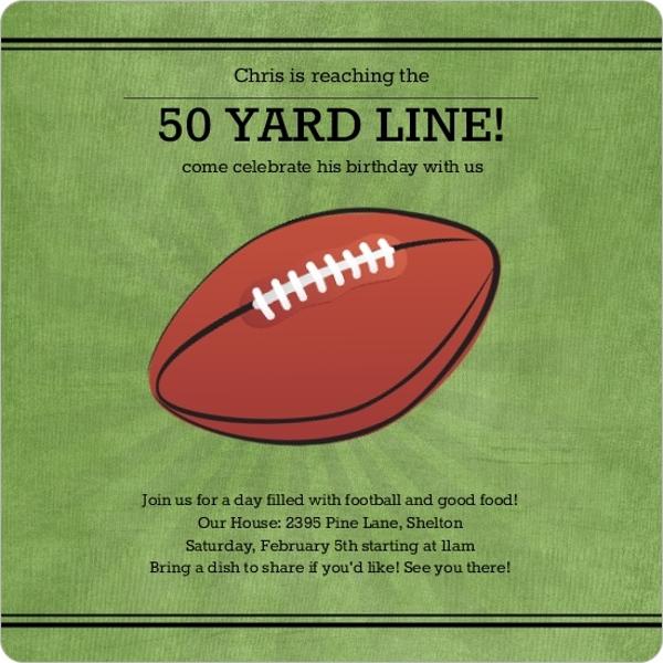 50 Yard Line Football Birthday Party Invitation Magnet