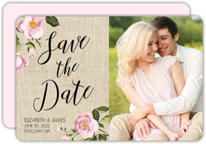 Vintage Burlap Floral Save The Date Card