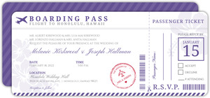 Purple Boarding Pass Destination Wedding Invitation