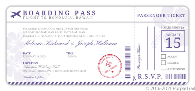 Boarding Pass Wedding Invitations.Purple Boarding Pass Destination Wedding Invitation