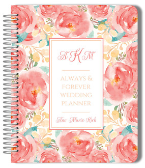 Pink Elegant Watercolor Flower Wedding Planner