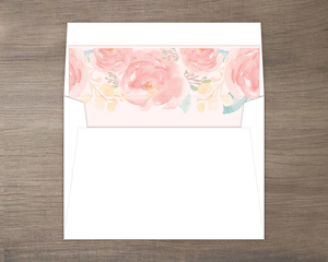 Pink Elegant Watercolor Flower Envelope Liner