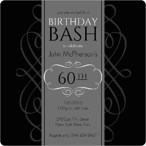 Black And Grey Formal Soiree 60Th Birthday Invite Magnet