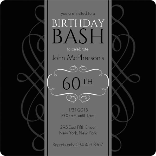Black and grey formal soiree 60th birthday invite magnet black and grey formal soiree 60th birthday invite filmwisefo
