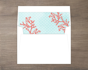 Coral Watercolor Envelope Liner