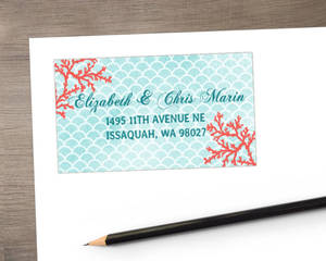 Coral Watercolor Address Label
