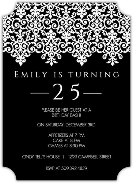Elegant Black and White 25th Birthday Invitation