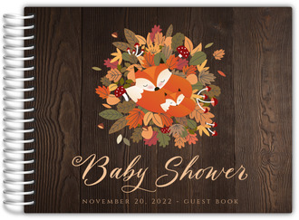Fox Autumn Leaves Bed Baby Shower Guest Book