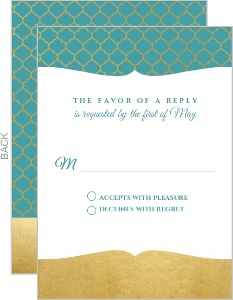 Teal and Faux Gold Mandala Wedding Response Card