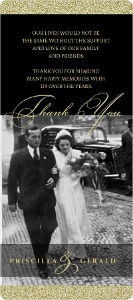 Black Gold Classic Anniversary Thank You Card