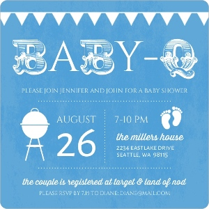 Babyq Blue And White Baby Shower Invitation Magnet