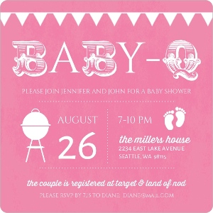 Babyq Pink And White Baby Shower Invitation Magnet