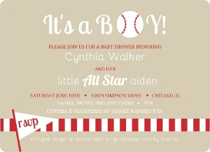 Taupe And Red Baseball Party Invitation Magnet