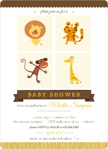 Zoo Animals Baby Shower Invitation Magnet