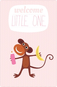 Little Monkey Girl Baby Shower Invitation