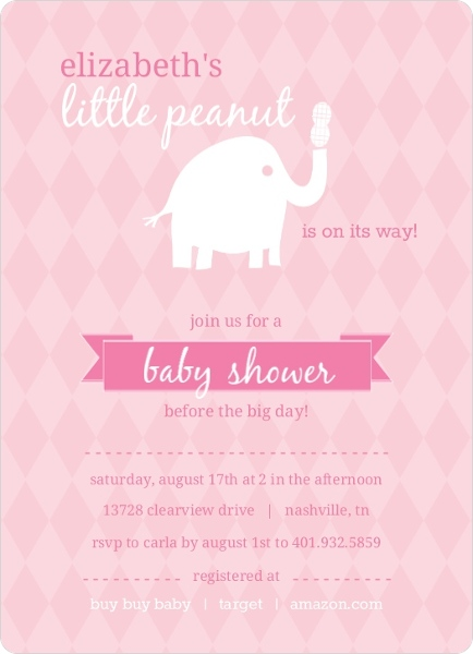 Pink and white little elephant girl baby shower invitations pink and white little elephant girl baby shower invitations filmwisefo